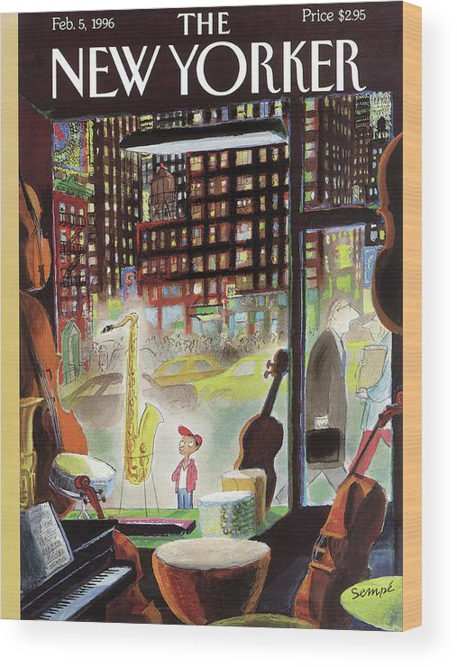 The Boy Who Wanted To Be President Wood Print featuring the painting A Young Boy Admires A Saxophone by Jean-Jacques Sempe