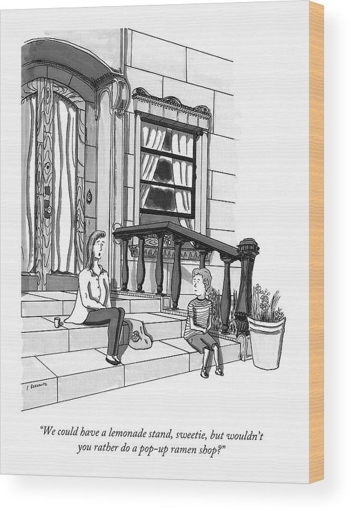 Parenting Wood Print featuring the drawing A Young, Rich Mother Tells Her Son, As They Sit by Peter Berkowitz