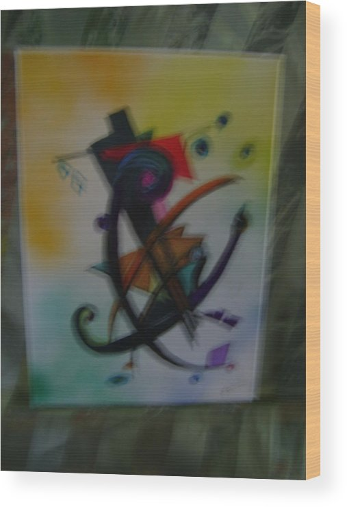 Contemporary Art Wood Print featuring the painting Abstract Trangle by K