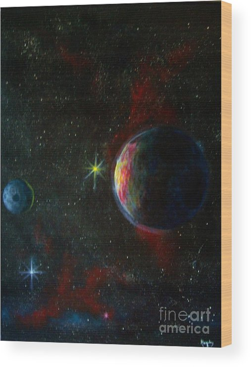 Cosmos Wood Print featuring the painting Alien Worlds by Murphy Elliott