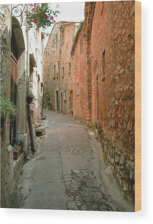 Alley Provence France Tourrette-sur-loup Wood Print featuring the photograph Alley In Tourrette-sur-loup by Susie Rieple
