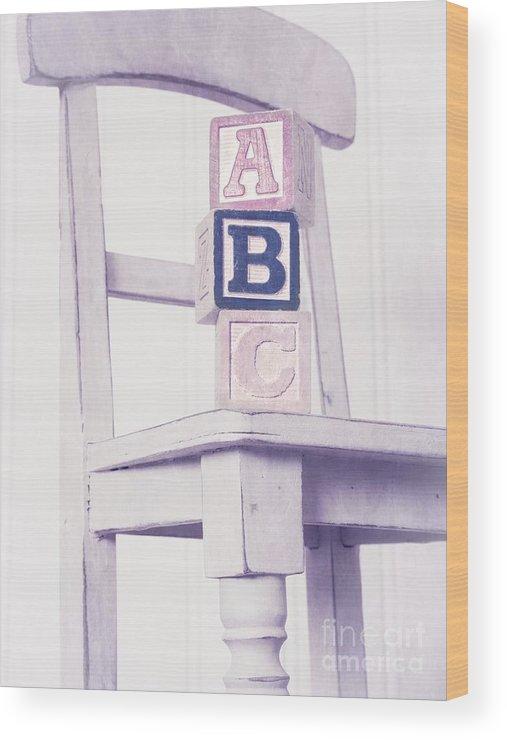 Chair Wood Print featuring the photograph Alphabet Blocks Chair by Edward Fielding