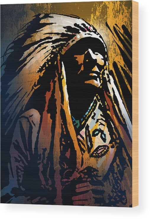 Native American Wood Print featuring the painting Ancestral Light by Paul Sachtleben