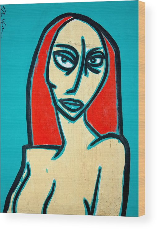 Oil Wood Print featuring the painting Angry Jen by Thomas Valentine