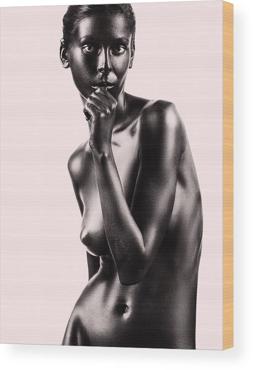 Beige Wood Print featuring the pyrography Artistic Nude Beautiful Woman Beige Background by Dan Comaniciu