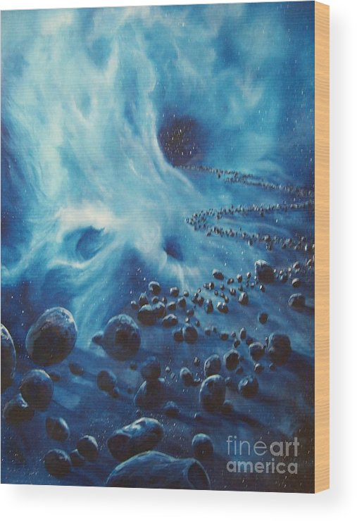Si-fi Wood Print featuring the painting Asteroid River by Murphy Elliott
