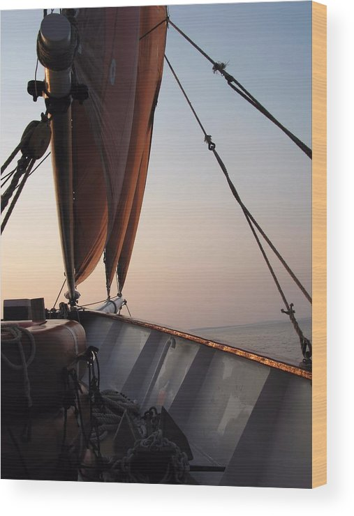 Sails Wood Print featuring the photograph At The Bow by Robert McCulloch