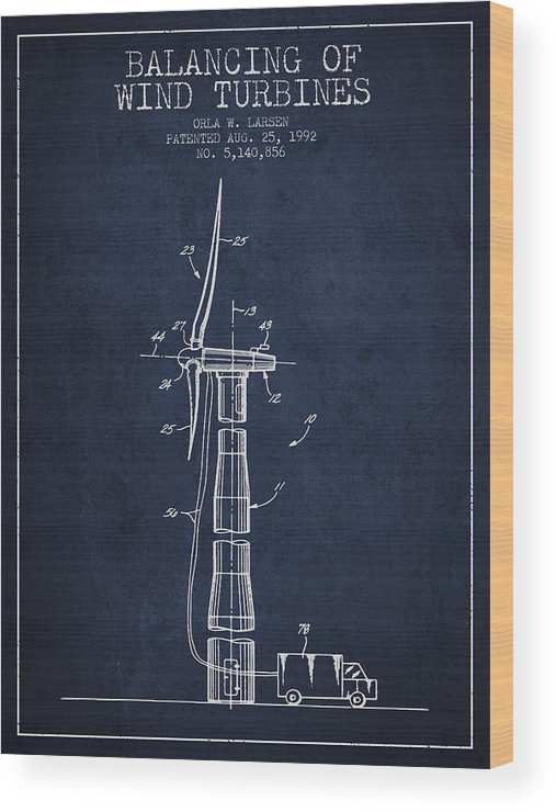 Wind Turbine Wood Print featuring the digital art Balancing Of Wind Turbines Patent From 1992 - Navy Blue by Aged Pixel