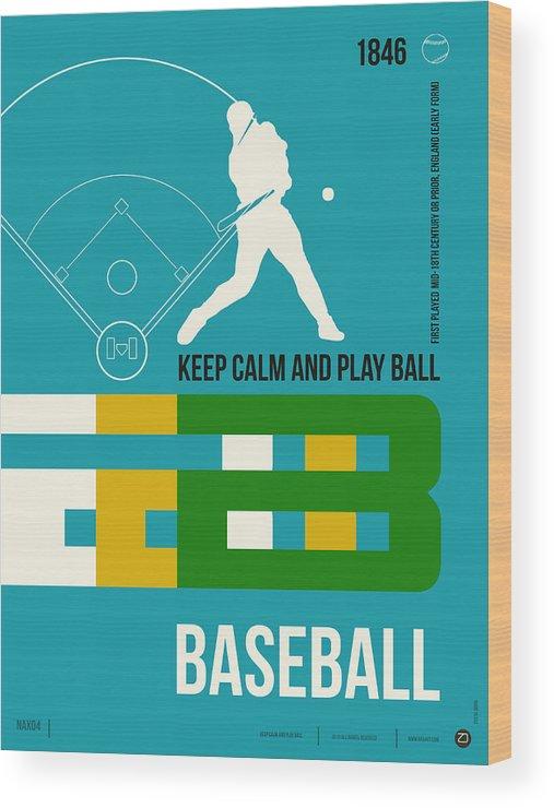Motivational Wood Print featuring the digital art Baseball Poster by Naxart Studio