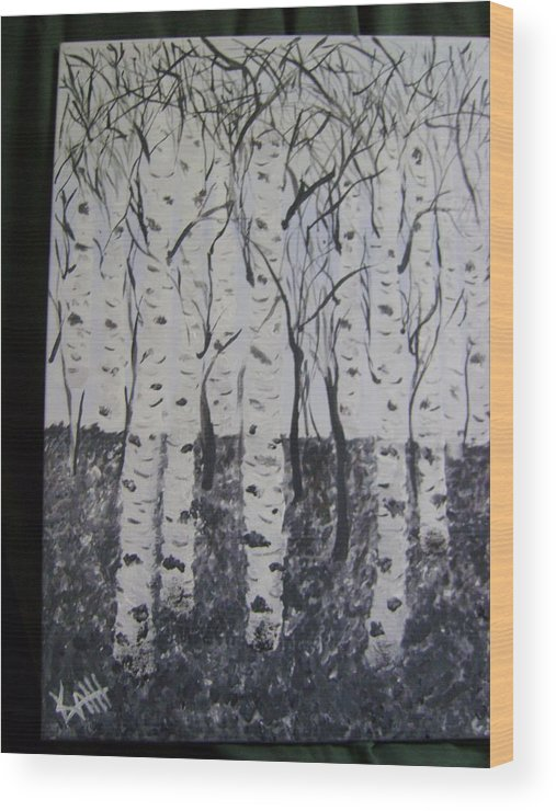 Birch Tree Wood Print featuring the painting Birch Trees by K