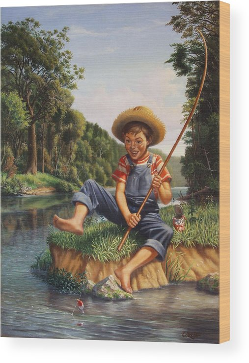 Boy Fishing In River Landscape - Childhood Memories - Flashback - Folkart - Nostalgic - Walt Curlee by Walt Curlee