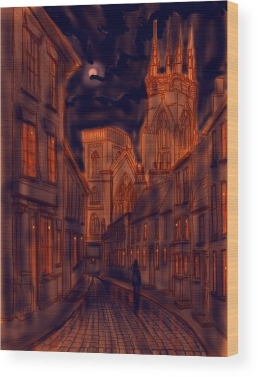 Ipad Wood Print featuring the painting Bridlington Priory In Orange And Blue by Glenn Marshall