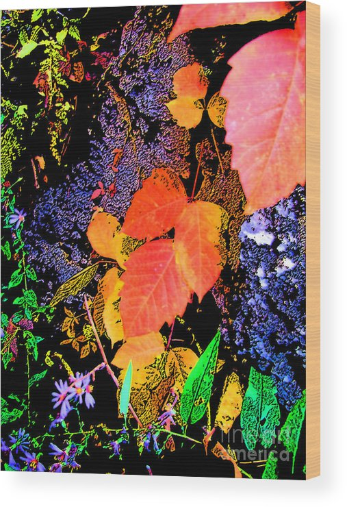 Leaves Wood Print featuring the photograph Bright Colorful Leaves Vertical by Minding My Visions by Adri and Ray