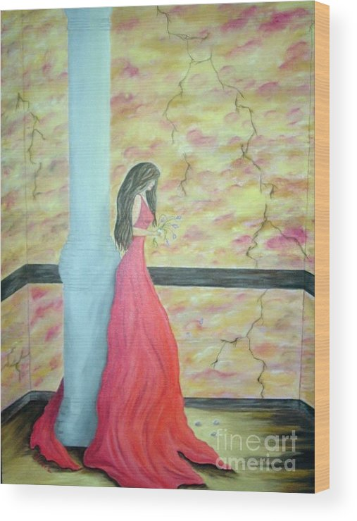 Oil Wood Print featuring the painting Broken by JoNeL Art
