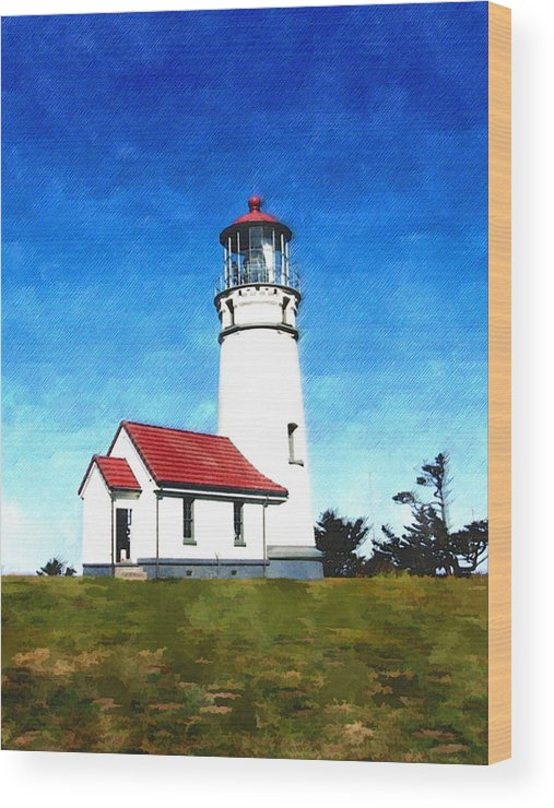 Oregon Wood Print featuring the painting Cape Blanco Lighthouse by Elaine Plesser