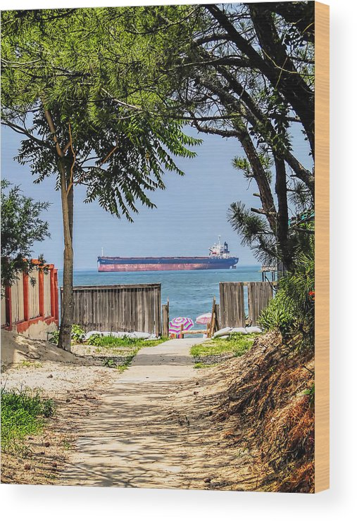Cargo Wood Print featuring the photograph Cargo Ship On Chesapeake Bay by Alan Hutchins