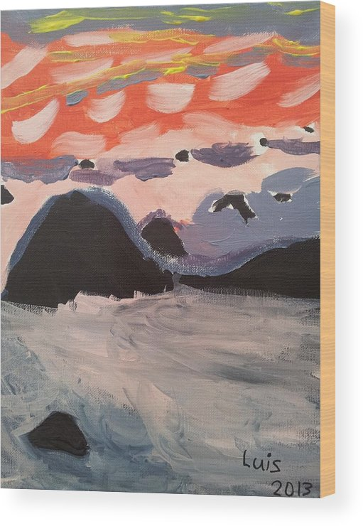Caribbean Sunset Wood Print featuring the painting Caribbean Sunset by Epic Luis Art