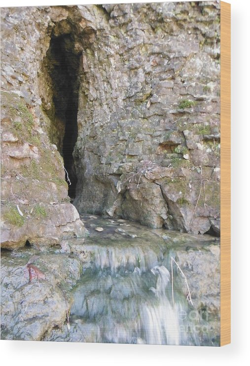 Cave Entrance And Mossy Waterfall At Indian Run Wood Print featuring the photograph Cave Entrance And Mossy Waterfall At Indian Run 1 by Paddy Shaffer