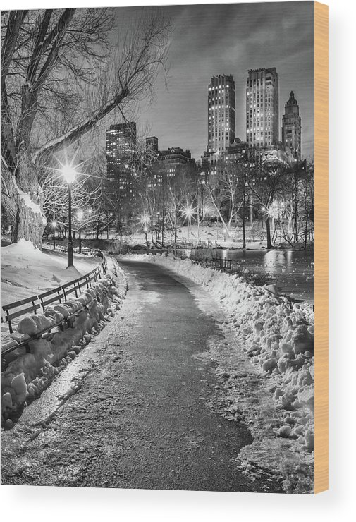 Snow Wood Print featuring the photograph Central Park Path Night Black & White by Michael Lee