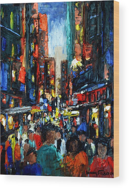 China Town Framed Prints Wood Print featuring the painting China Town by Anthony Falbo