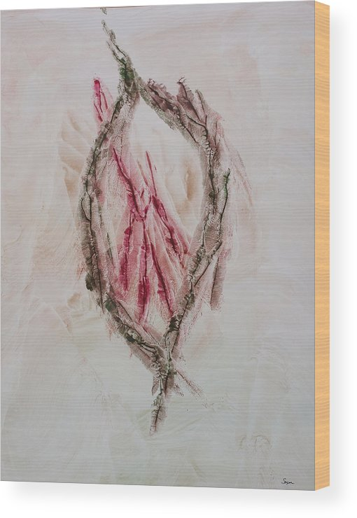 Contemporary Abstract Expressionism Wood Print featuring the painting Christmas Love by Sharon Saxon