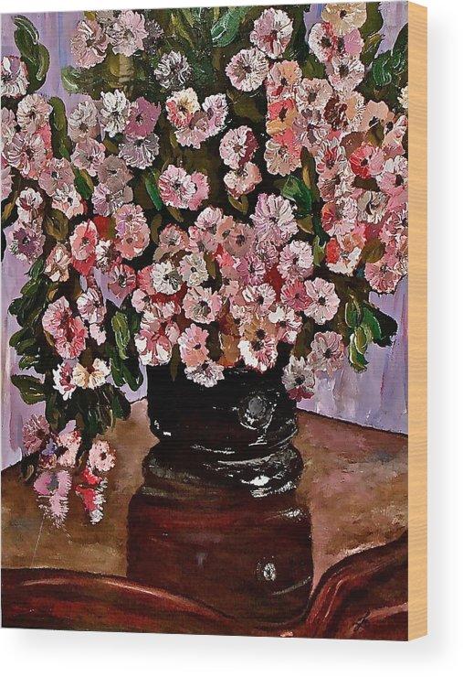 Chrysanthemums Wood Print featuring the painting Chrysanthemums by Izabela Bienko