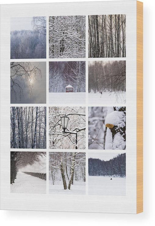 Abstract Wood Print featuring the photograph Collage February - Featured 3 by Alexander Senin