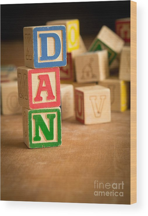 Abs Wood Print featuring the photograph Dan - Alphabet Blocks by Edward Fielding