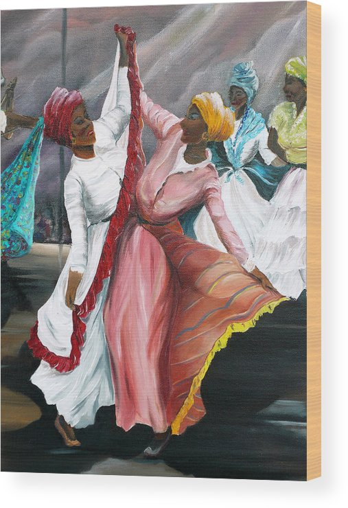 Dancers Folk Caribbean Women Painting Dance Painting Tropical Dance Painting Wood Print featuring the painting Dance The Pique 2 by Karin Dawn Kelshall- Best