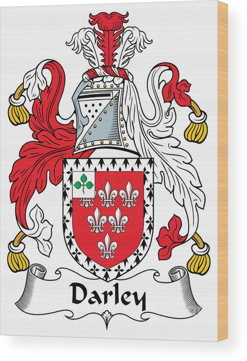 Darley Wood Print featuring the digital art Darley Coat Of Arms Irish by Heraldry