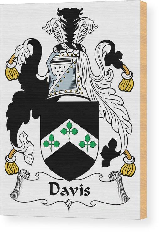 Davis Wood Print featuring the digital art Davis Coat Of Arms Kildare Ireland by Heraldry