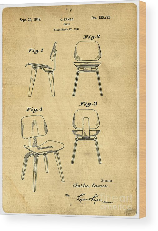 Patent Wood Print featuring the digital art Designs For A Eames Chair by Edward Fielding