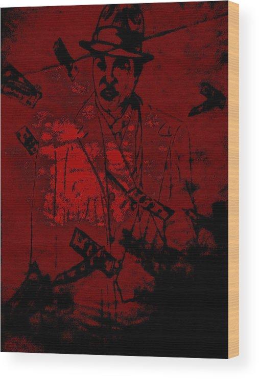 Gangster Wood Print featuring the digital art Digital Capone by Chad Milburn