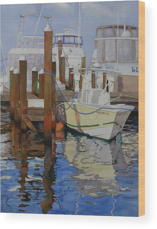 Boats Wood Print featuring the painting Docked by Judy Mercer