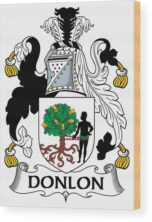 Donlon Wood Print featuring the digital art Donlon Coat Of Arms Irish by Heraldry