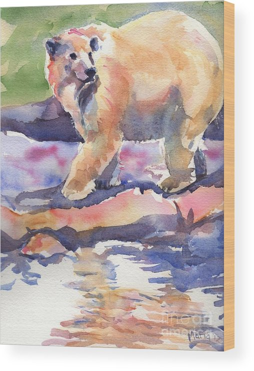 Polar Bear Watercolor Painting Wood Print featuring the painting Don't Look Back by Maria's Watercolor