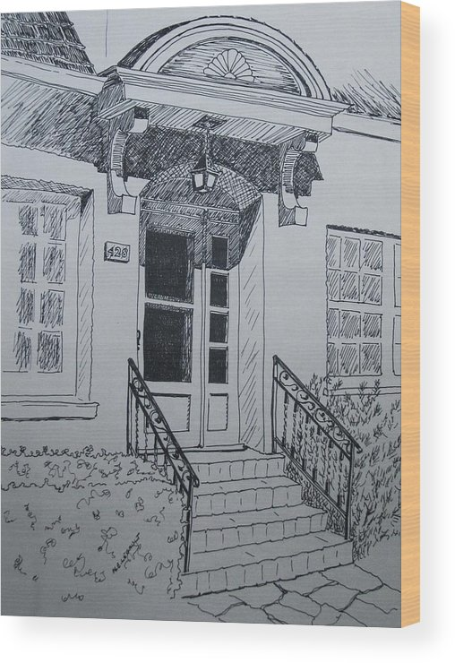 Pen And Ink Wood Print featuring the drawing Doorway by Mary Ellen Mueller Legault