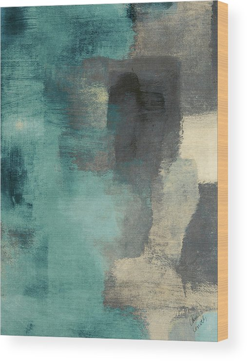 Abstract Wood Print featuring the digital art Downtown Blue Rain I by Lanie Loreth