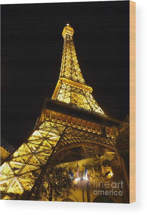 Paris Hotel Wood Print featuring the photograph Eiffel Night by David Bearden
