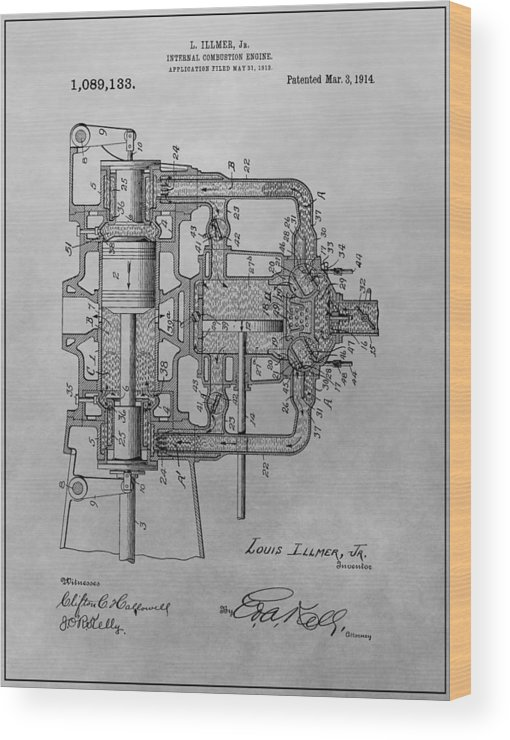 Vintage Engine Patent Wood Print featuring the drawing Engine Patent Drawing by Dan Sproul