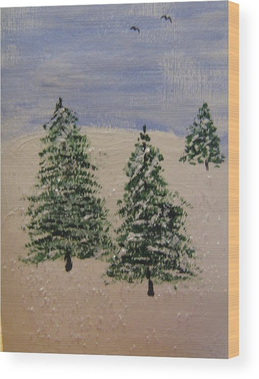 Evergreen Trees Wood Print featuring the painting Evergreen Winter by Brian Peterson