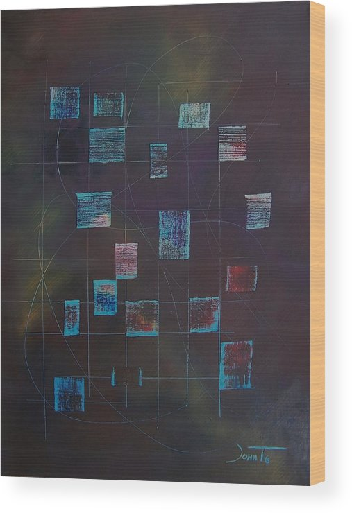 Abstract Wood Print featuring the painting Experimental Color Suspention #5 by John Terrell