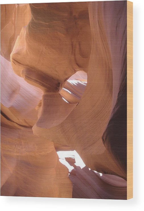 Narrow Canyon Wood Print featuring the photograph Face In The Stone by Christiane Schulze Art And Photography