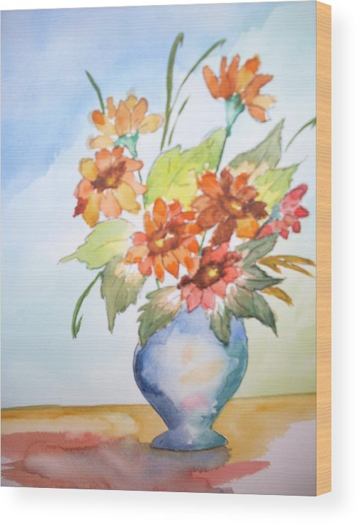 Floral Still Life Wood Print featuring the painting Fall Bouquet by Warren Thompson