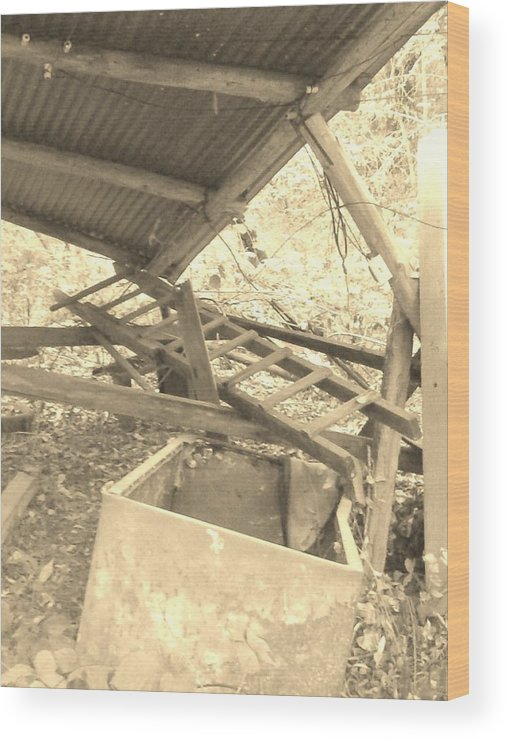 Car Port Wood Print featuring the photograph Fallen Car Port by Marge Cari