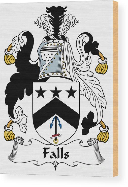 Falls Wood Print featuring the digital art Falls Coat Of Arms Irish by Heraldry
