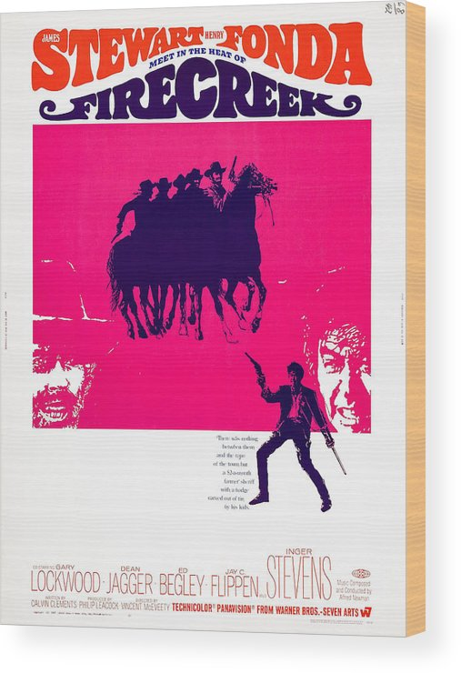 1960s Movies Wood Print featuring the photograph Firecreek, Us Poster, Bottom From Left by Everett