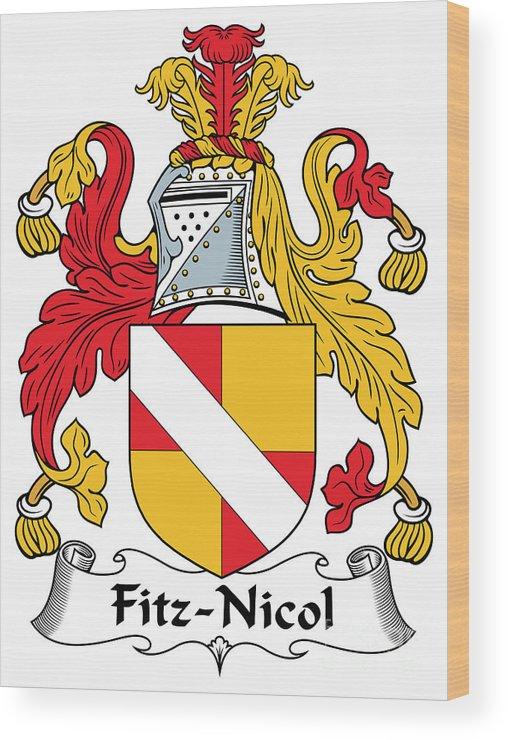 Fitz-nicol Wood Print featuring the digital art Fitznicol Coat Of Arms Irish by Heraldry