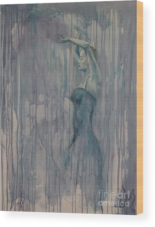 Dance Female Flamenco Sport Blue Purple Wood Print featuring the painting Flamenco 3 by Jos Van de Venne