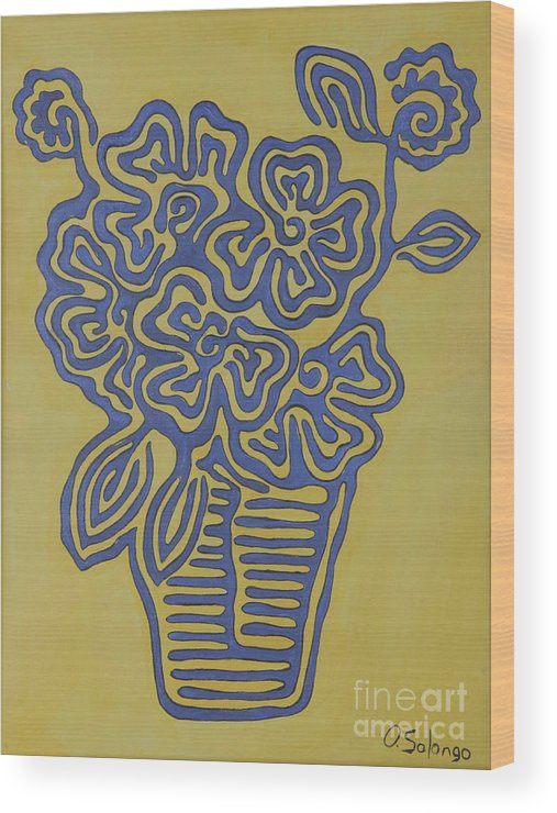 Flower Wood Print featuring the painting Flower Vase by Solongo Ochirbal